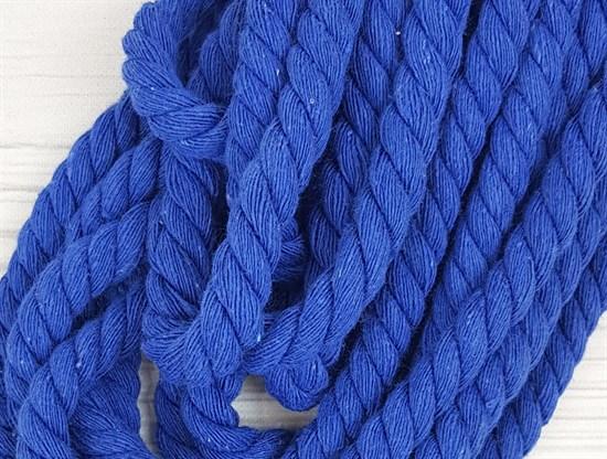Шнур крученый, 100% хлопок, 10мм, синий - фото 12938