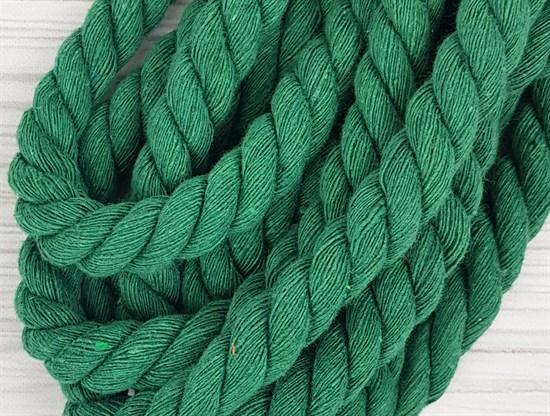 Шнур крученый, 100% хлопок, 15мм, зеленая трава - фото 12939
