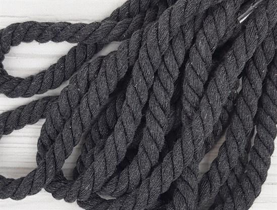 Шнур крученый, 100% хлопок, 10мм, темно-серый - фото 12940