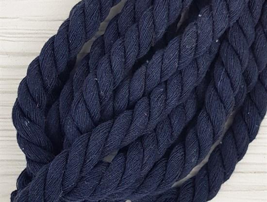 Шнур крученый, 100% хлопок, 15мм, темно-синий - фото 12941