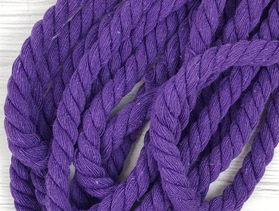 Шнур крученый, 100% хлопок, 10мм, фиолетовый - фото 12944