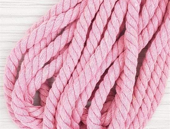 Шнур крученый, 100% хлопок, 10мм, розовый - фото 12945