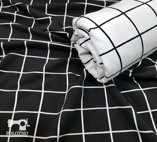 Футер 2х-нитка, КЛЕТКА НА ЧЕРНОМ фоне - фото 4903