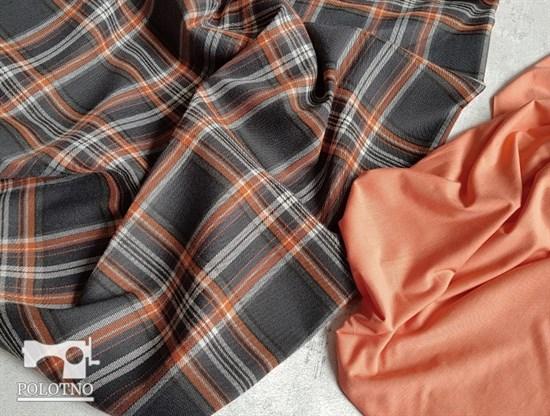 Костюмная ткань, КЛЕТКА графит+оранж - фото 6362