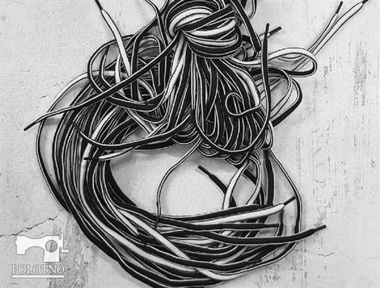 Шнурки черно-белые, 130см - фото 6671