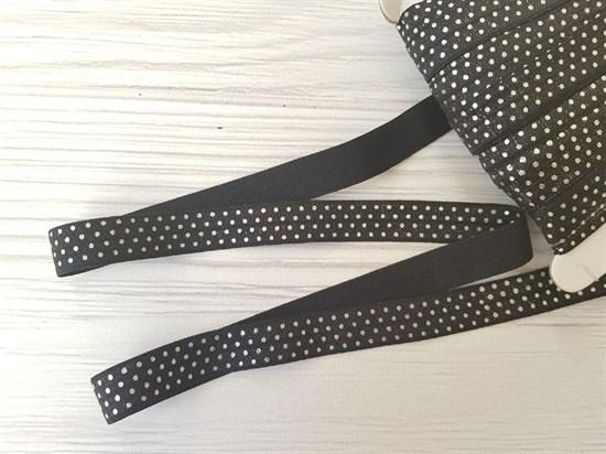 Резинка окантовочная , черная + горох серебро - фото 6920
