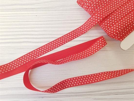 Резинка окантовочная , красная + горох белый - фото 6922