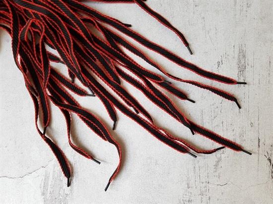 Шнурки черно-красные, 120см - фото 7405
