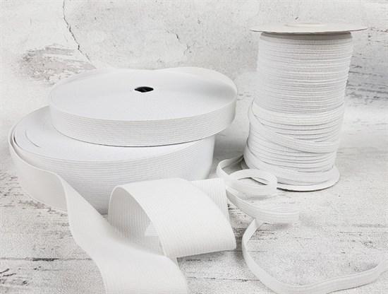 Резинка тканая, белая 8мм - фото 7426