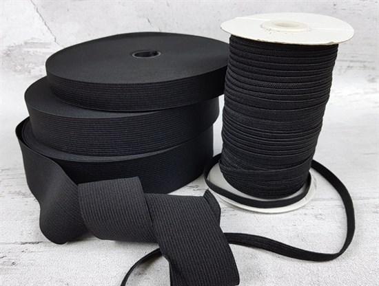 Резинка тканая, черная 8мм - фото 7430