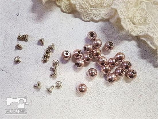 Бусины с креплением, розовое золото 8мм - фото 7601