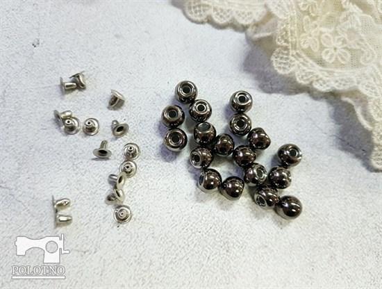 Бусины с креплением, темное серебро 8мм - фото 7603