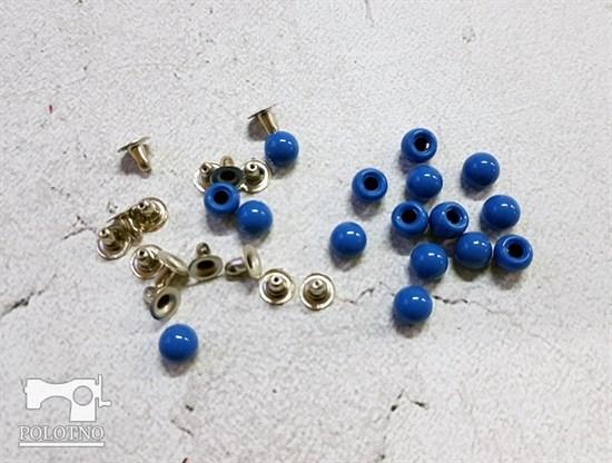 Бусины с креплением, синий 6мм - фото 7621