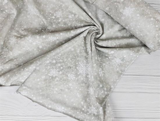 Футер 2х-нитка, Снежинки на бежевом фоне - фото 7658