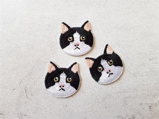 Аппликация термоклеевая, Черно-белый кот - фото 7768