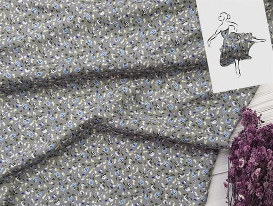 Штапель, Мелкие цветочки (голубые на сером) - фото 8446