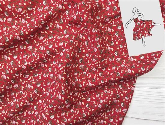 Штапель, Мелкие цветочки на красном - фото 8454