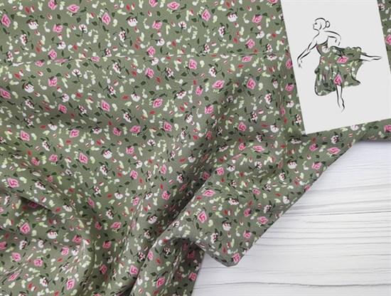 Штапель, Мелкие цветочки на зеленом - фото 8459