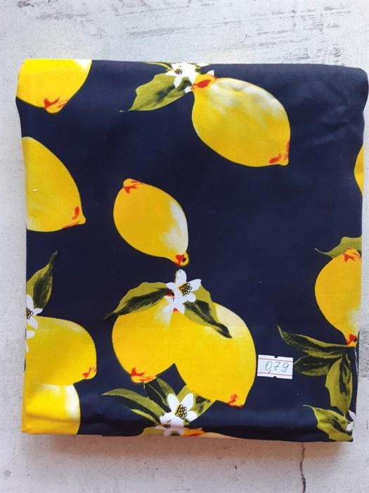 хлопок стрейч лимоны на синем - фото 8930