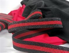 Резинка с люрексом ,красный + черный - фото 10764