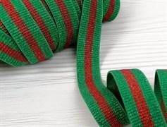 Резинка с люрексом ,зеленый +красный