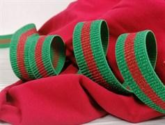 Резинка с люрексом ,зеленый +красный - фото 10768
