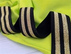 Резинка тканая черная с люрексом,Золото - фото 10831