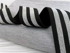 Резинка тканая черная с люрексом,Серебро - фото 10835