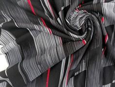 Футер 2х-нитка, полоски горизонт черная,серая ,красная - фото 10947