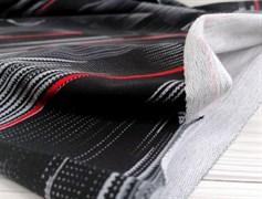 Футер 2х-нитка, полоски горизонт черная,серая ,красная - фото 10948