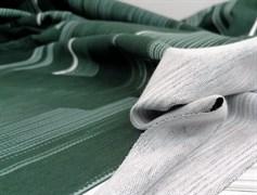 Футер 2х-нитка, полоски горизонт зеленая,черная,белая - фото 10951