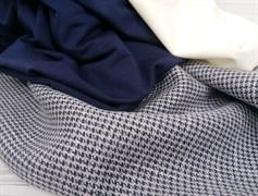 Костюмная ткань FANCY, мелкая лапка синяя с люрексом - фото 10960