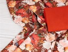 Цветы на бордо, футер 2х нитка - фото 11194