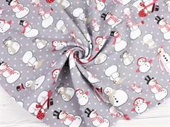 Кулирка Снеговики на сером - фото 11342