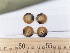 Пуговица роговая матовая 19мм, коричневая - фото 11909