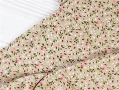 Штапель, Мелкие цветочки на бежевом - фото 12240