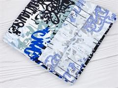 Кулирка с лайкрой, Граффити сине-белые - фото 12441