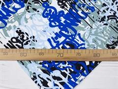 Кулирка с лайкрой, Граффити сине-белые - фото 12442