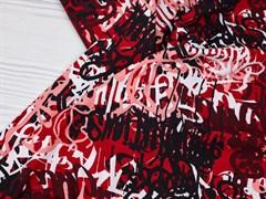 Кулирка с лайкрой, Граффити черные-бордо - фото 12448