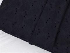 Хлопок шитье сердечки черный - фото 12498