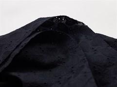 Хлопок шитье сердечки черный - фото 12501