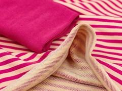 Футер 3х нитка петля, полоска розовый/персик - фото 12594