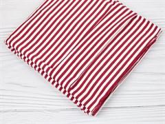 Кулирка с лайкрой, полоска красная/белая - фото 12597