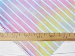 Кулирка с лайкрой полоска, тай-дай пастельный радуга - фото 12606