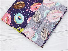 Кулирка 100% хб, Пончики на синем - фото 12625