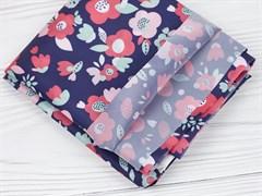 Ткань подкладочная Цветы на синем - фото 12674