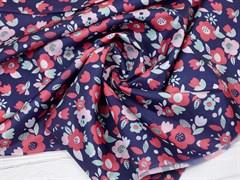 Ткань подкладочная Цветы на синем - фото 12676