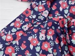 Ткань подкладочная Цветы на синем - фото 12677
