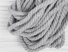 Шнур крученый, 100% хлопок, 8мм, св.серый