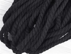 Шнур крученый, 100% хлопок, 8мм, черный